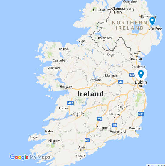 Ireland map - Dub and Bel